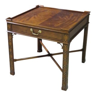 Vintage Baker Chinese Chippendale Mahogany Side Table W/Drawer & Stretcher For Sale