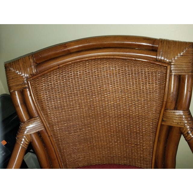 Hollywood Regency Rattan Bamboo Leather Swivel Bar Stools - a Pair For Sale - Image 3 of 13