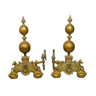 Monumental English Brass Andirons - Pair