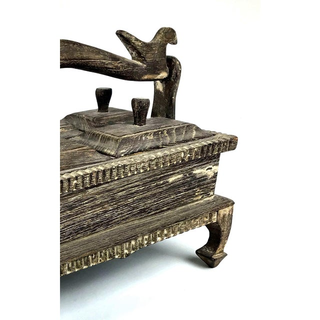 Gray 1900s Asian Hand Carved Wood Spice Box For Sale - Image 8 of 11