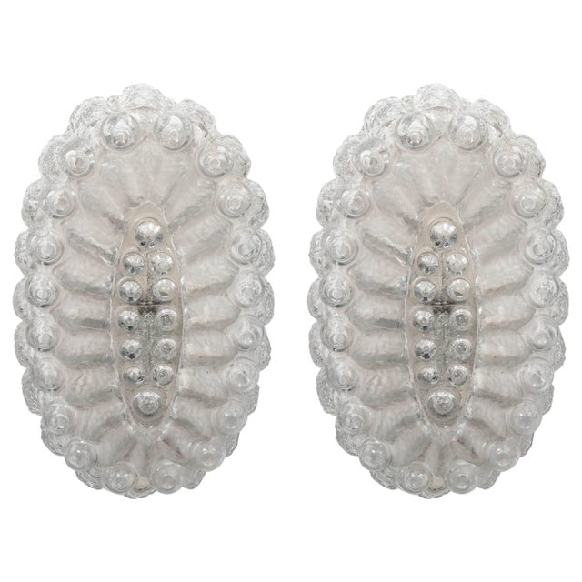 Mid 20th Century Mid-Century Oval Sconces in Textured Glass with Frosted Detail - a Pair For Sale - Image 5 of 5