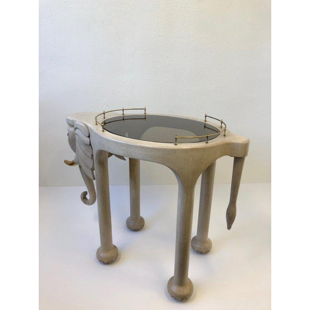 Marge Carson 1980s Carved Wood Elephant Bar Cart by Marge Carson For Sale - Image 4 of 12