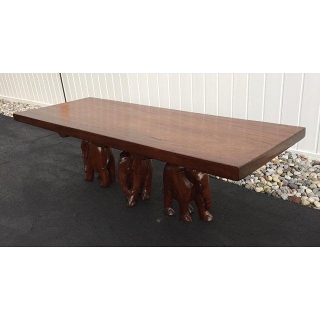 Vintage Carved Walnut Elephant Coffee Table - Image 2 of 9