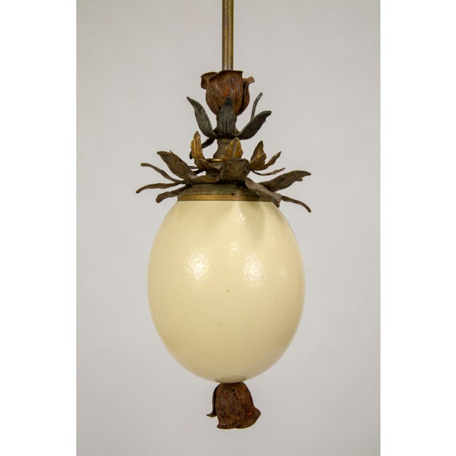 Ostrich Egg and Antique Metal Pendant For Sale - Image 9 of 13