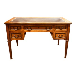 French Transitional Mahogany Partners Desk with Bronze Mounts For Sale