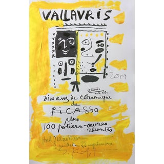 Abstract Framed Picasso Poster Painting by Sean Kratzert 'Yellow Faces' For Sale