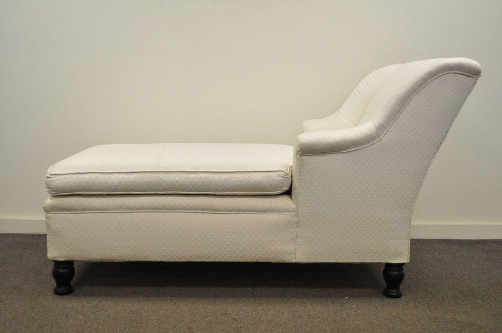 Antique French Empire Style Chaise Lounge Fainting Couch Sofa Bun Feet  Recamier   Image 3 Of