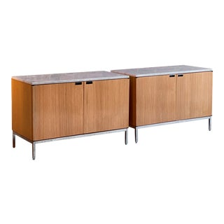 Florence Knoll Marble Credenza by Knoll Oak Two-Door, USA, circa 1970 - A Pair For Sale