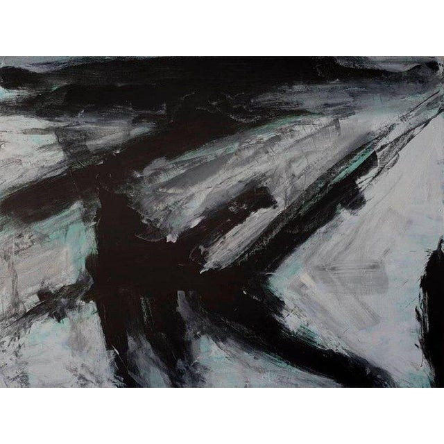 Stephanie Cate Europa 23 Abstract Black, White, Green Acrylic Painting on Wood Panel For Sale