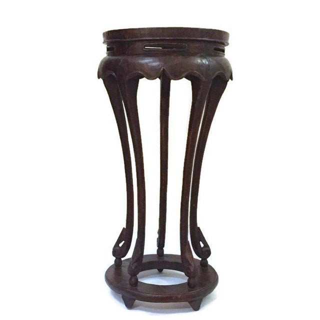 "Vintage Chinese Pedestal Stand Carved Wood Chinoiserie Display Stand Plant Stand 36"" For Sale - Image 12 of 13"