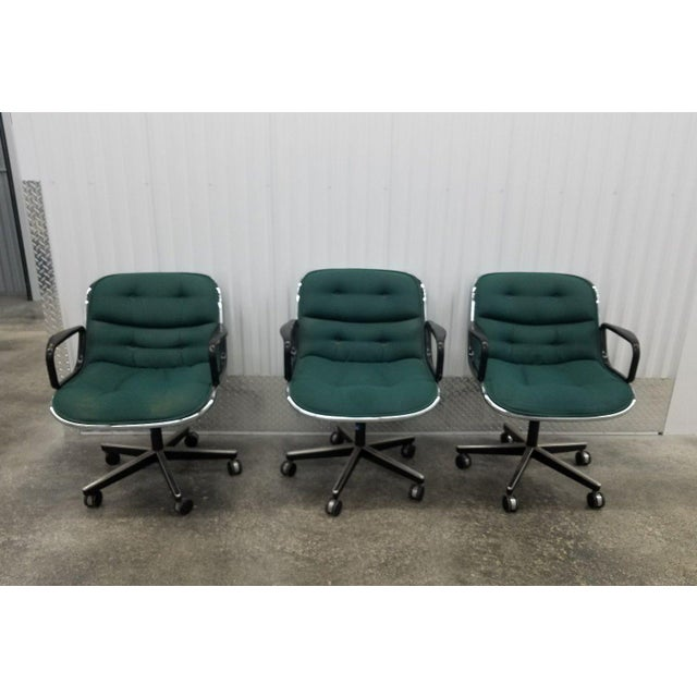Green 1980's Mid-Century Modern Knoll Charles Pollack Cloth Office Chairs - Set of 3 For Sale - Image 8 of 10