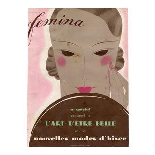 """Femina, Novembere 1932"" Original Vintage French Magazine Cover For Sale"