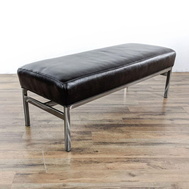 Designer Brand Modern Bench Featuring Top-Grade Leather Seat And Chrome Frame. Brand is Room & Board. Original Price...