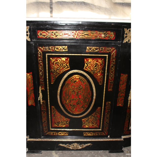 Red 20th Century Louis XVI Boulle Glass Door Cabinet With Marble Top For Sale - Image 8 of 9