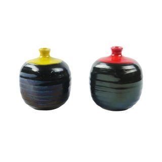 Red & Yellow Ceramic Weed Pots - A Pair For Sale