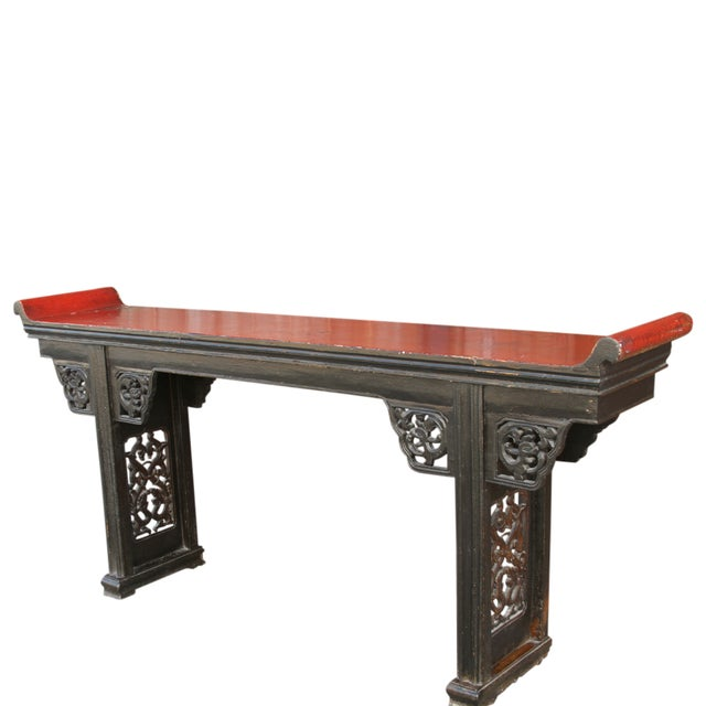 Lustrous lacquered altar console table from Northern China. Long, lean, and with simple lines, this table features...