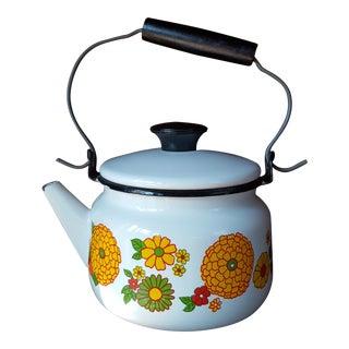 1940s Vintage Marigold Floral Yellow Enamel Coffee Pot For Sale