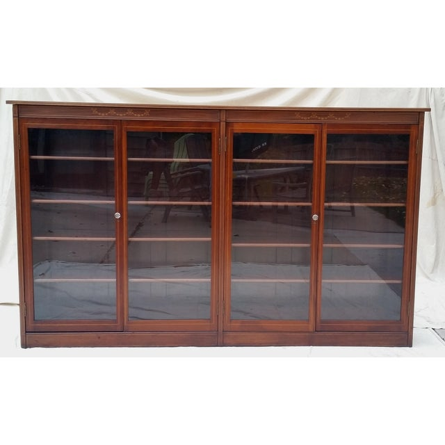 A beautiful and monumental circa 1910 bookcase made by Paine's Furniture  Company of Boston, Mass. Aesthetic Movement Antique Mahogany Glass Door ... - Antique Mahogany Glass Door Bookcase - Paine's Furniture Chairish