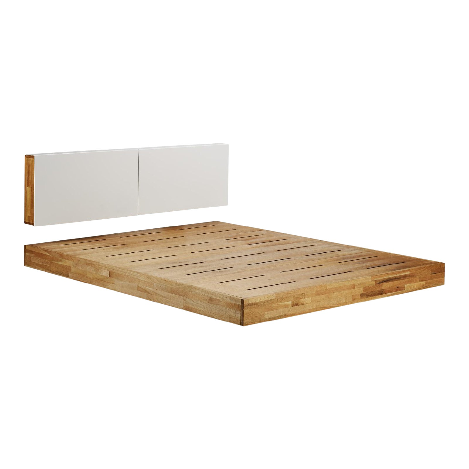 Modern Platform Queen Bed Solid Wood With Wall Hung White Headboard 2 Pieces Chairish