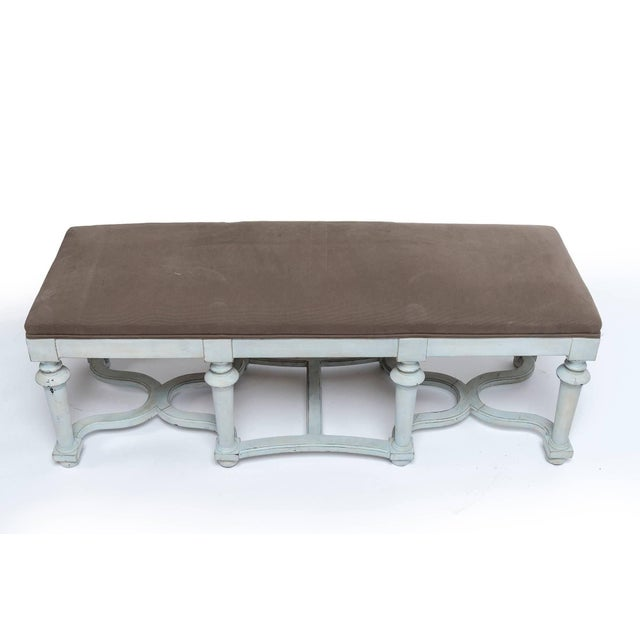 Pair of Light Blue or Green Painted Benches With Grey Cushions For Sale In Washington DC - Image 6 of 11