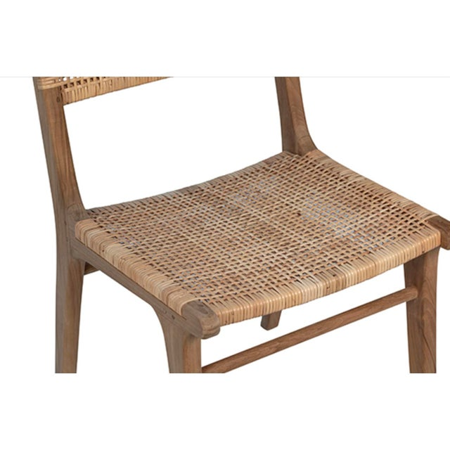 Natural Teak & Wicker Dining Chair For Sale In Los Angeles - Image 6 of 7