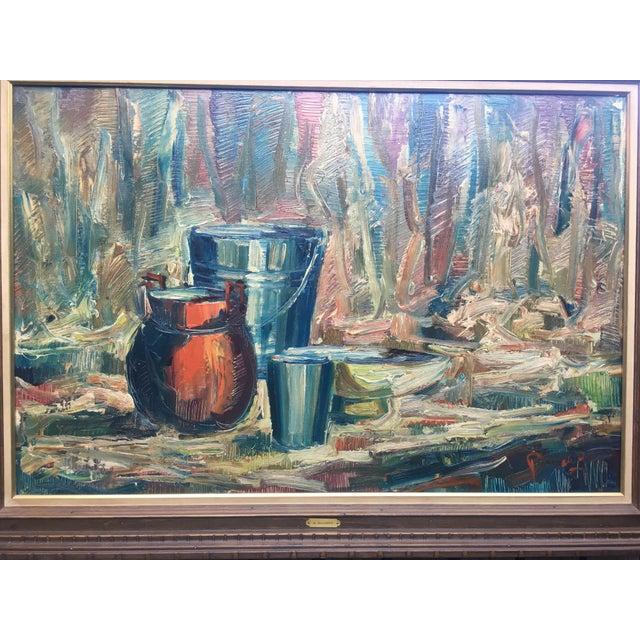Blue Still Life Palette Knife Oil Signed, Maassen For Sale - Image 8 of 10