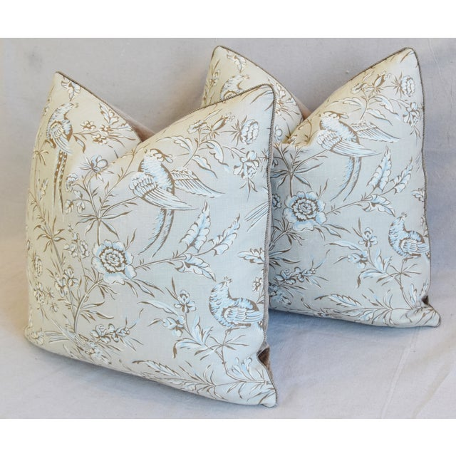 """Blue Scalamandre Aviary & Velvet Feather/Down Pillows 21"""" Square - Pair For Sale - Image 8 of 13"""