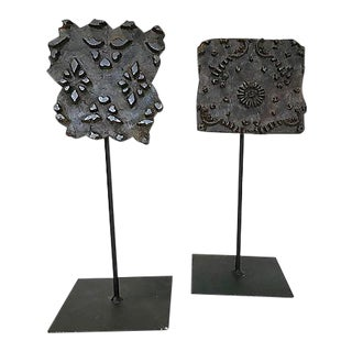 Indian Textile Print Blocks on Stands - a Pair For Sale