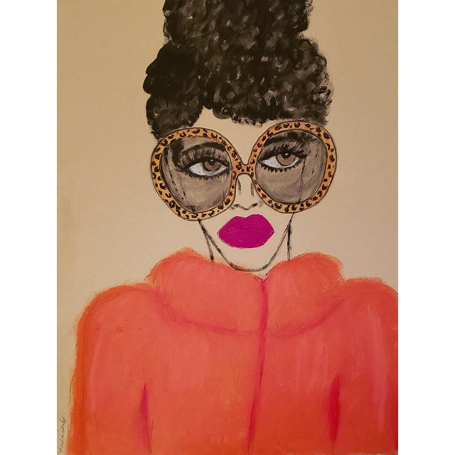"""""""Orange Coat"""" Contemporary Drawing For Sale"""