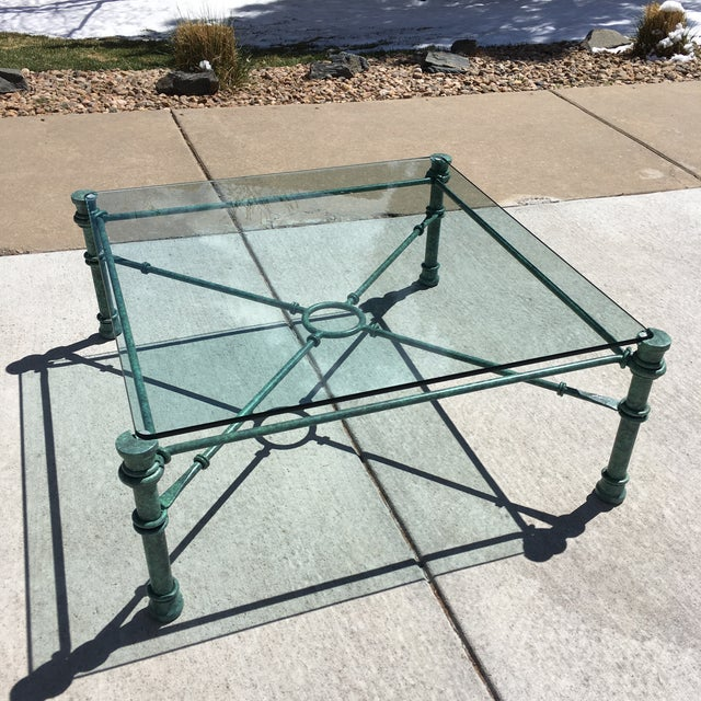 Verdigris Mid-Century Modern Wrought Iron Coffee Table After Giacometti For Sale - Image 8 of 12