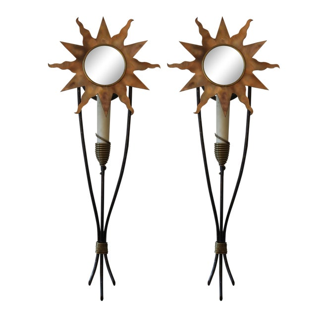 Gold Orion Wall Sconces - a Pair For Sale - Image 8 of 8