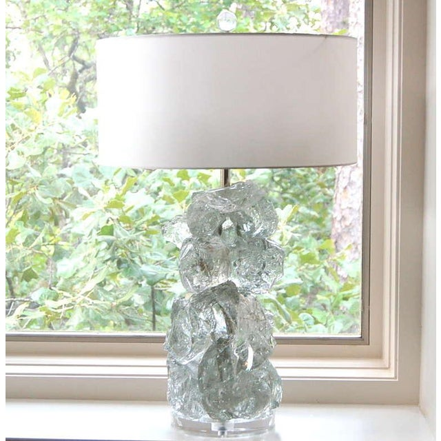 Contemporary Glass Rock Table Lamps by Swank Lighting Clear Ice- A Pair For Sale - Image 3 of 9