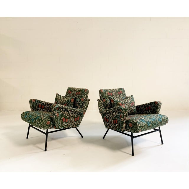 C. 1955 French Lounge Chairs in William Morris Blackthorn, Pair For Sale - Image 12 of 12