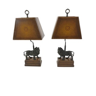Theodore Alexander Bronze Lion Table Lamps - a Pair For Sale
