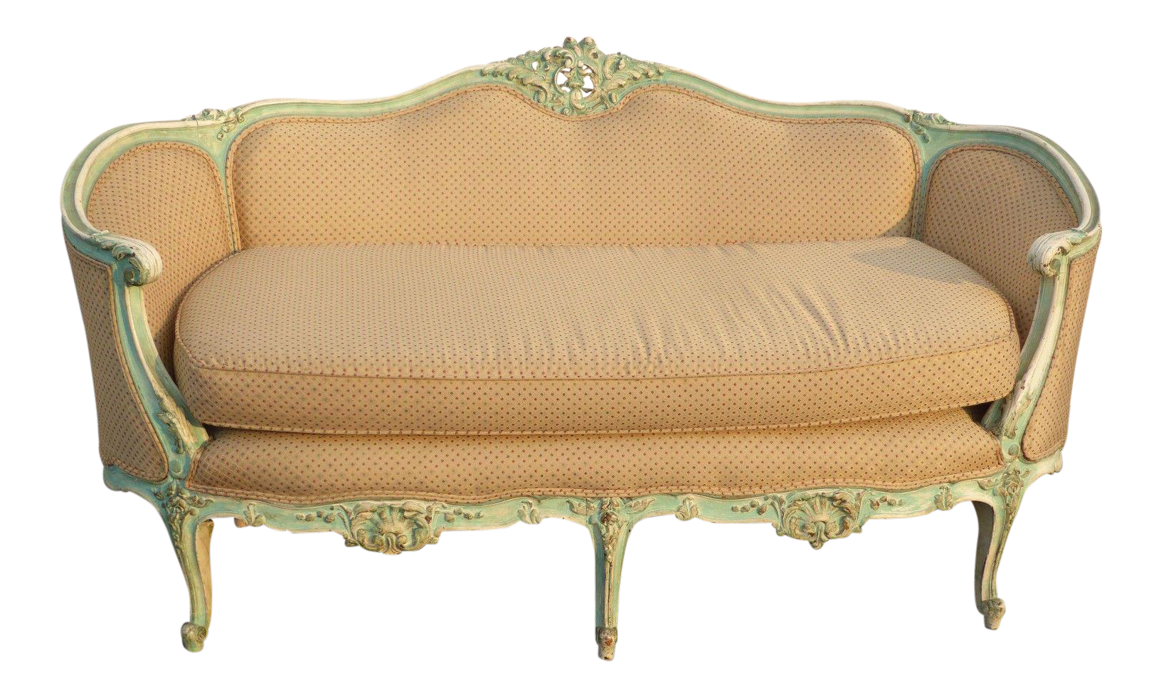 Incroyable Antique French Provincial Louis XV Rococo Style Ornately Carved Settee Sofa    Image 1 Of 11