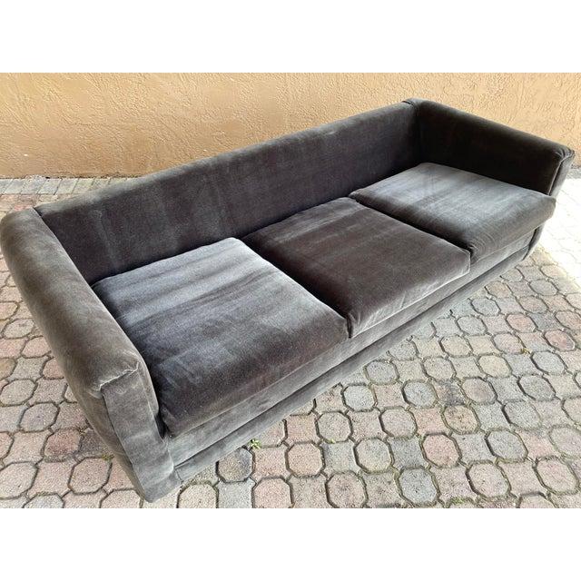 Wood Restored 70s Gray Velvet Tuxedo Sofa For Sale - Image 7 of 9