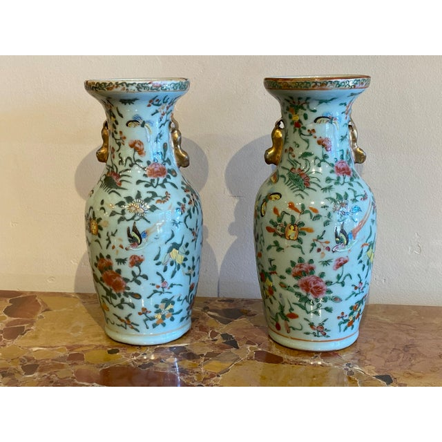 Ceramic 19th Century Antique Chinese Foo Lions Vases-a Pair For Sale - Image 7 of 8