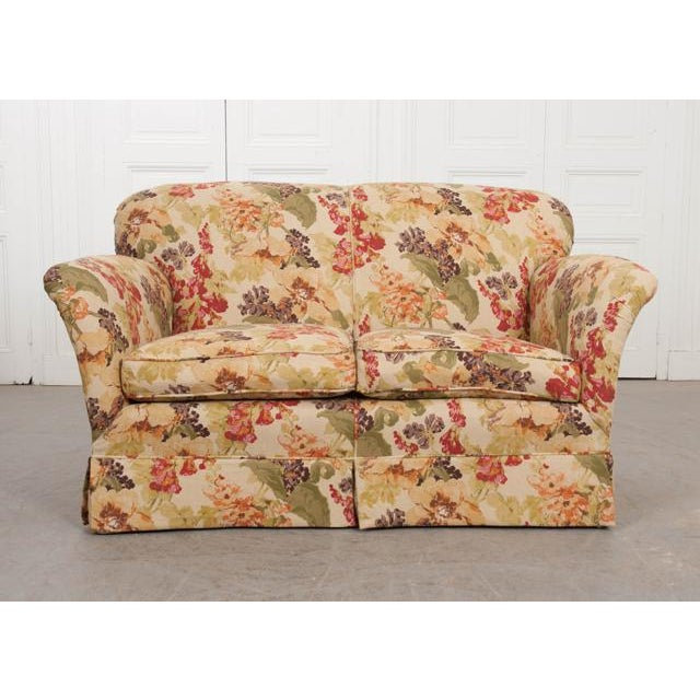 Textile English Vintage Settee Love Seat For Sale - Image 7 of 12