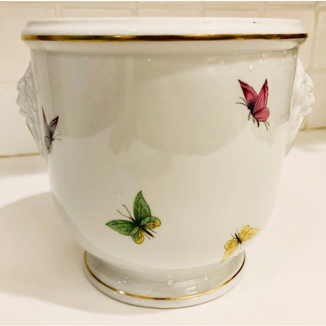 Gorgeous Limoges cache pot with articulated lion's head side detail and colorful painted butterfly motif. Gold trim.