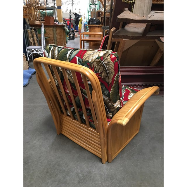 Mid-Century Modern Rattan Fan Arm Lounge Chair With Ottoman Set For Sale - Image 3 of 9