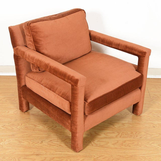 Mid 20th Century Copper Crushed-Velvet Upholstered Club Chair For Sale - Image 5 of 10