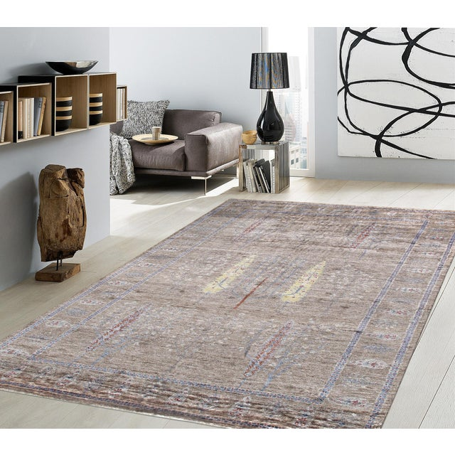 """Contemporary Pasargad Gabbeh Bamboo Silk Area Rug - 5' 7"""" X 7' 9"""" For Sale - Image 3 of 3"""