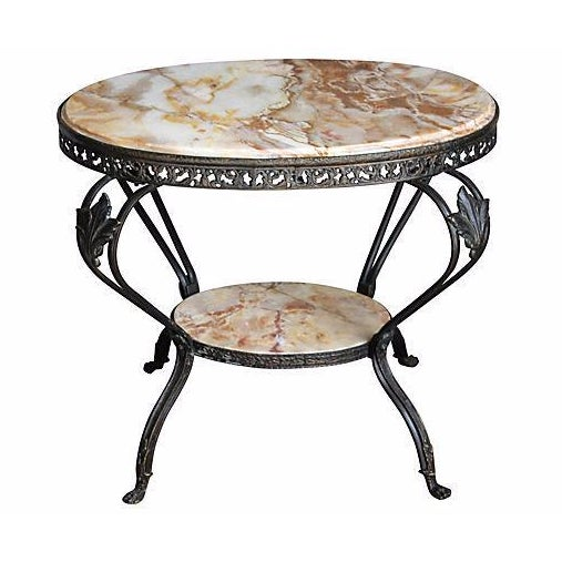 Antique French Bronze & Marble 2 Tier Accent Table - Image 1 of 6