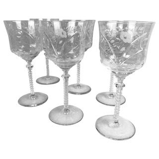 Burleigh Wine Glasses by Rock Sharpe-Set of Six For Sale