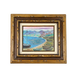 1960s French Beach Town Painting in Faux Bamboo Frame For Sale