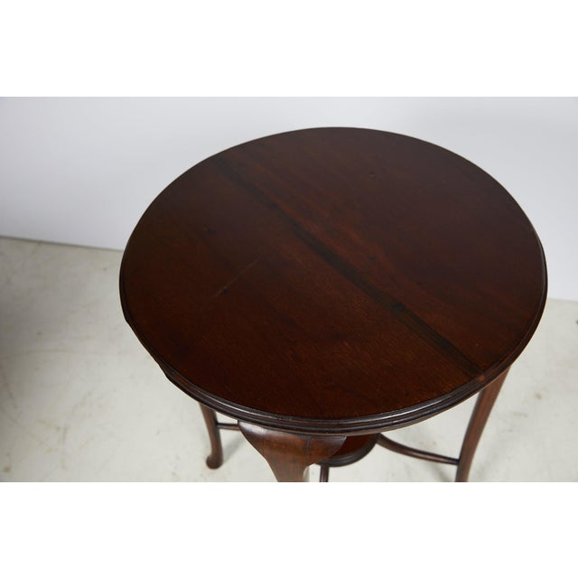 English Art Nouveau Round Tea Table of Mahogany For Sale - Image 10 of 13