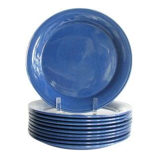 Vintage Nancy Calhoun Blue Sapphire Pottery Dinner Plates - Set of 10 For Sale