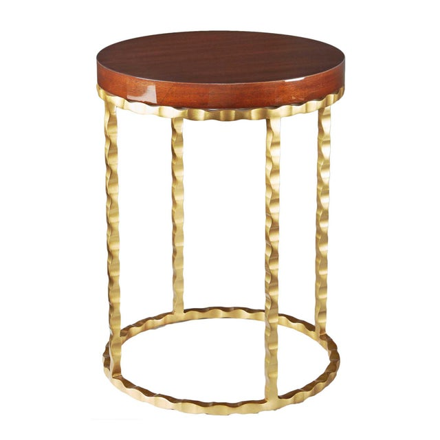 Selamat Designs Brass & Mahogany Side Table - Image 1 of 2