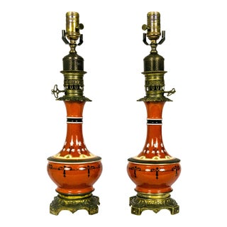 Dutch Painted Porcelain Table Lamps (pair)