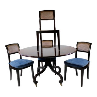 1970s Traditional Solid Mahogany Dining Set by Dessinfournir - 5 Pieces For Sale